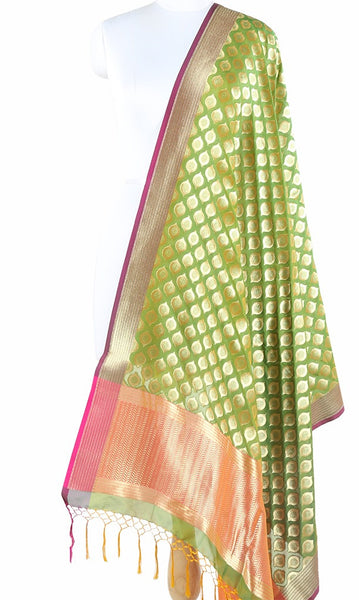 Green Art Silk Banarasi Dupatta with ogee pattern motifs ZISSRVDAS661 (1) Main