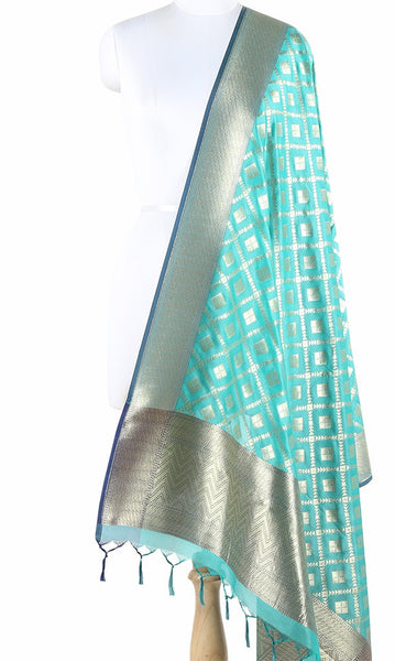 Green Art Silk Banarasi Dupatta with square motifs in grid pattern jaal PCVB01AS06 (1) Main