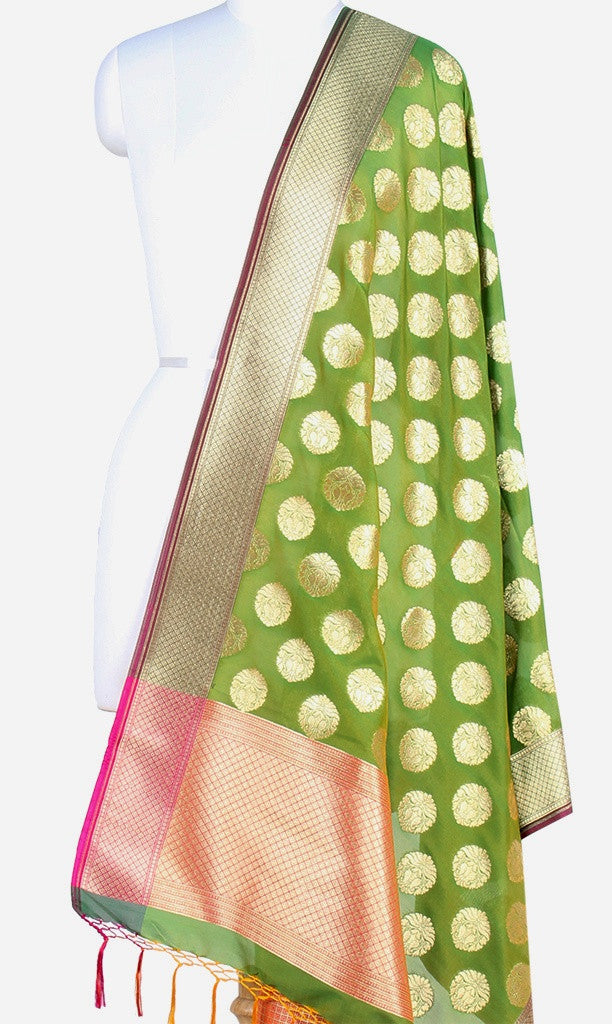 Green Art Silk Banarasi Dupatta with stylized circular motifs (PCRVDAS48) (1) Main