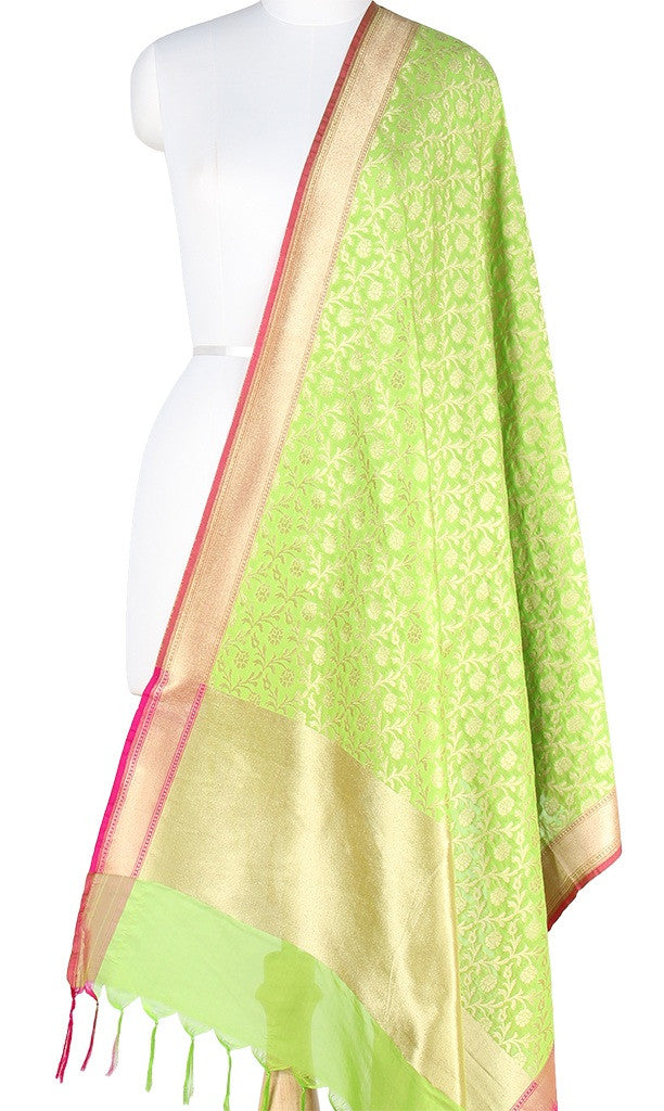 Green Art Silk Banarasi Dupatta with stylized floral jaal PCJB01N03 (1) Main