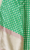 Green Art Silk Banarasi Dupatta with stylized motifs Close up Image