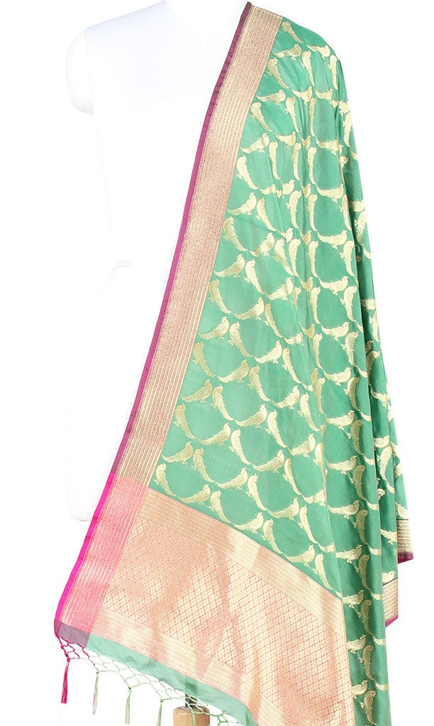 Green Art Silk Banarasi dupatta with bird motifs (PCRVDP02) (1) Main