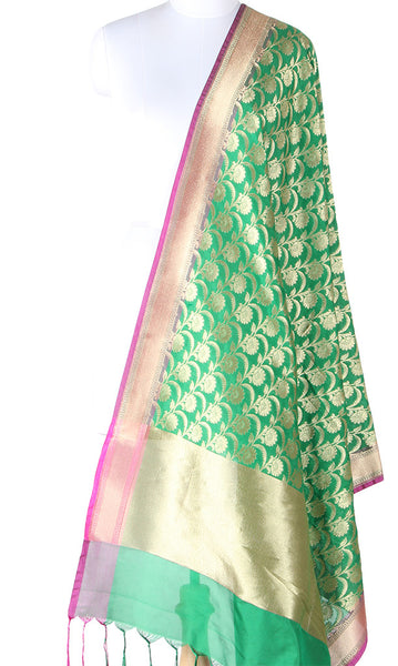 Green Art Silk Banarasi dupatta with flower jaal and pink edge SSJB01N123 (1) Main