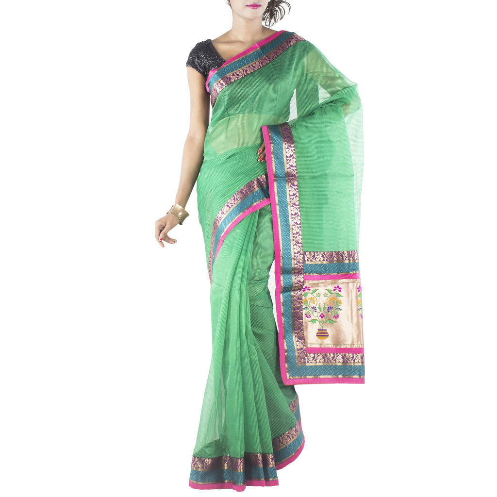 Green Art Silk Saree with Brocade border and anchal