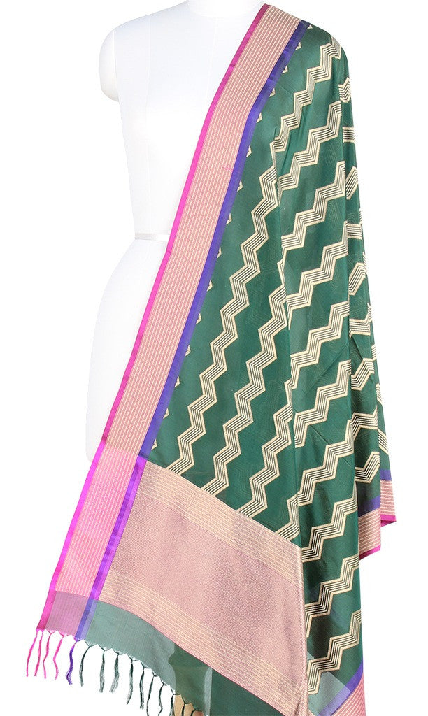 Green Banarasi Silk Dupatta with Vertical chevron stripes PCPBD03S14 (1) Main