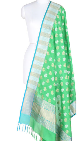 Green Banarasi Silk Dupatta with artistic leaf motifs and dual zari work  PCPBD01SG06 (1) Main