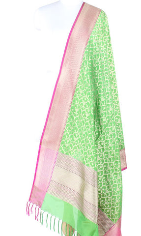 Green Banarasi Silk Dupatta with floral motifs in geometrical jaal PCPBD03S35 (1) Main