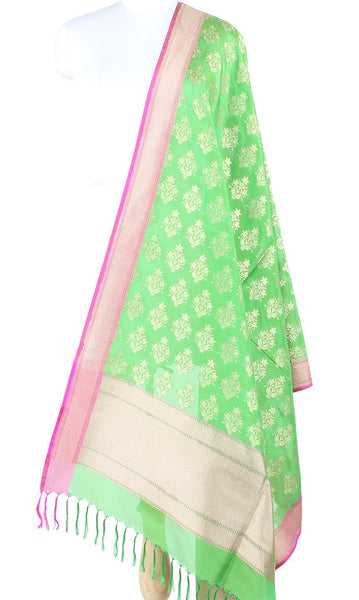 Green Banarasi Silk Dupatta with flower plant motifs and dual zari PCPBD01SG18 (1) Main