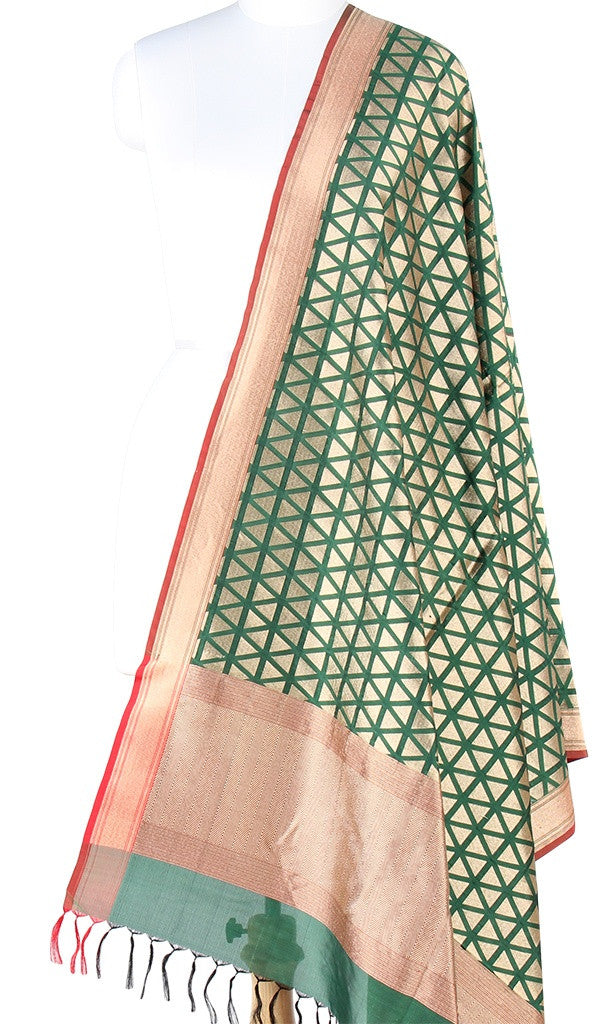 Green Banarasi Silk Dupatta with geometrical motifs and zari work PCPBD02S03 (1) Main