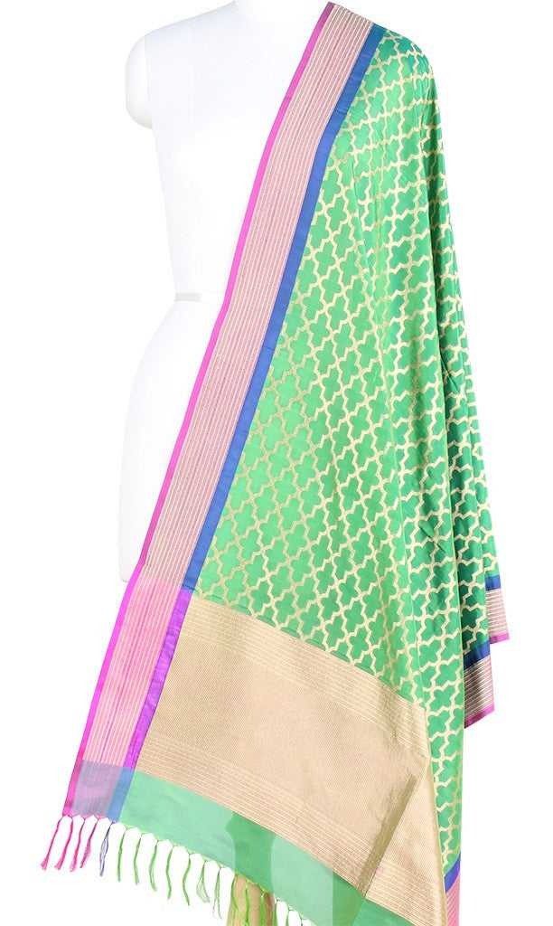 Green Banarasi Silk Dupatta with stylized jaal and zari work  PCPBD03S05 (1) Main