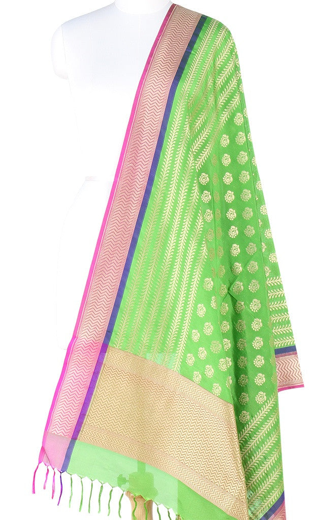 Green Banarasi Silk Dupatta with stylized motifs and zari work PCPBD01S02 (1) Main