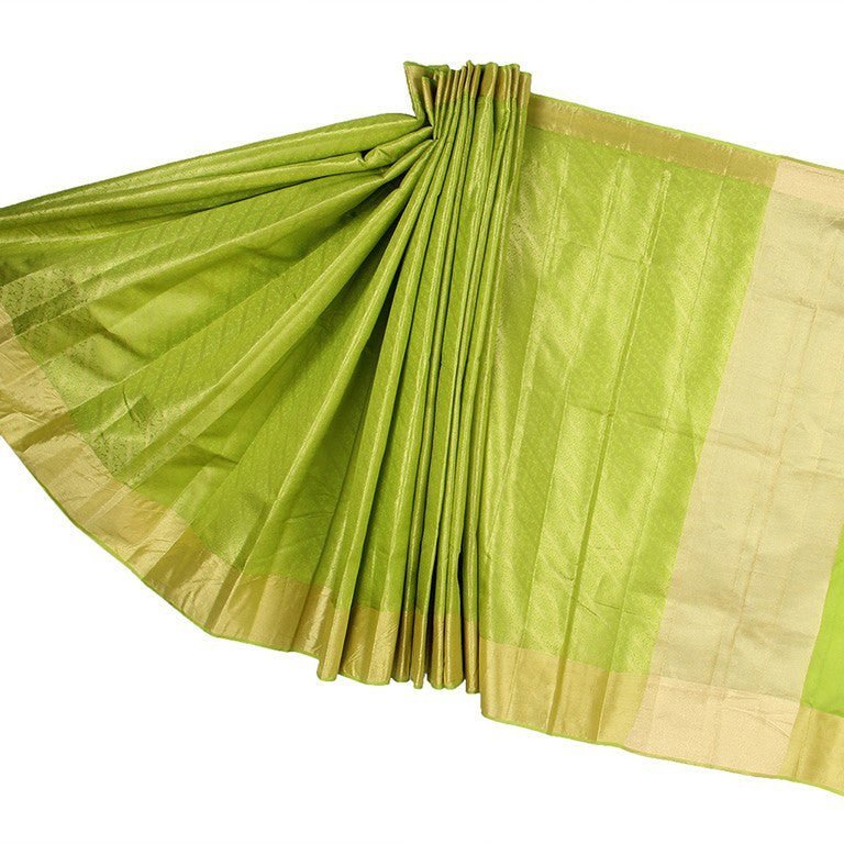 Green Banarasi Silk Saree with mini Leaf jaal and Zari work