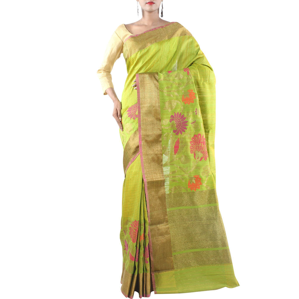 Green Handwoven Dupion Silk Saree with Floral jaal and Zari work