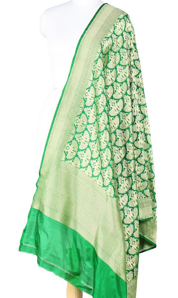 Green Katan Silk Banarasi Dupatta with Dancing lady motifs Main Image