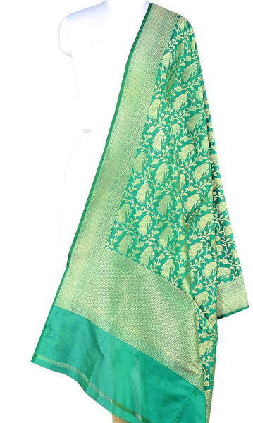 Green Katan Silk Banarasi dupatta with Baluchari motifs (PCRVD04B04) (1) Main
