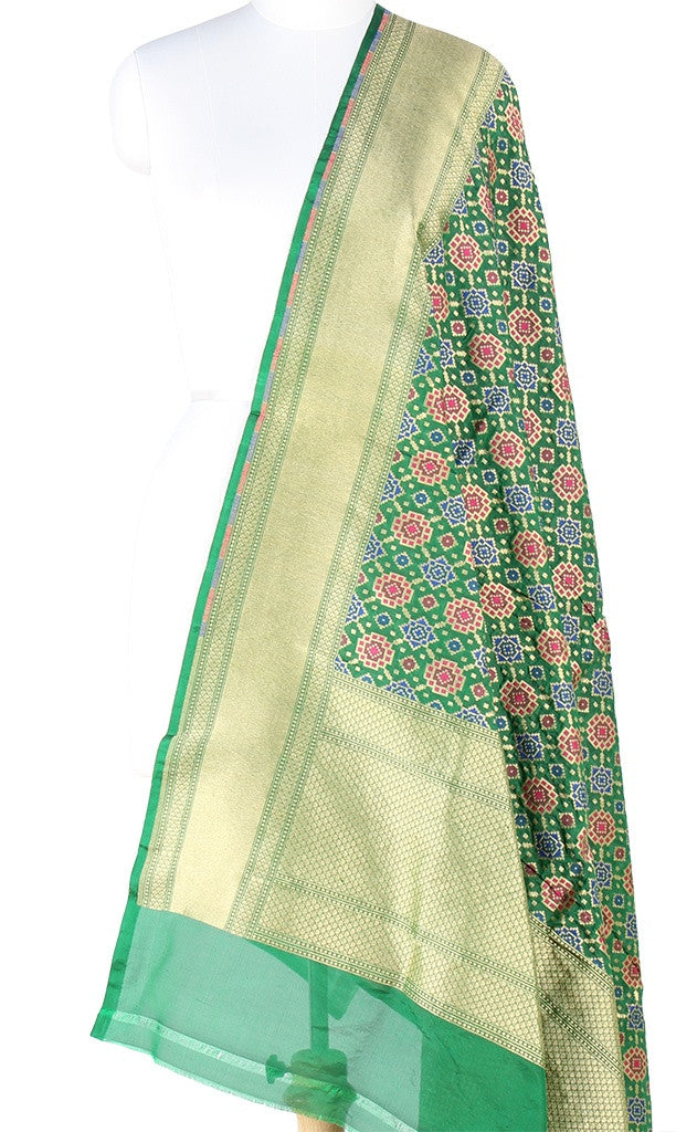 Green Katan Silk Banarasi dupatta with Patola pattern (PCVJD07) (1) Main
