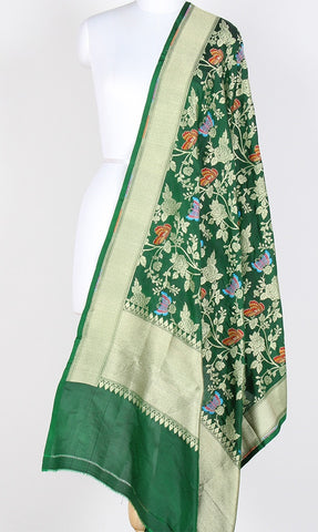 Green Katan Silk Hanwoven Banarasi Dupatta with flower and butterfly jaal PCRVDKS03BY05 (1) Main