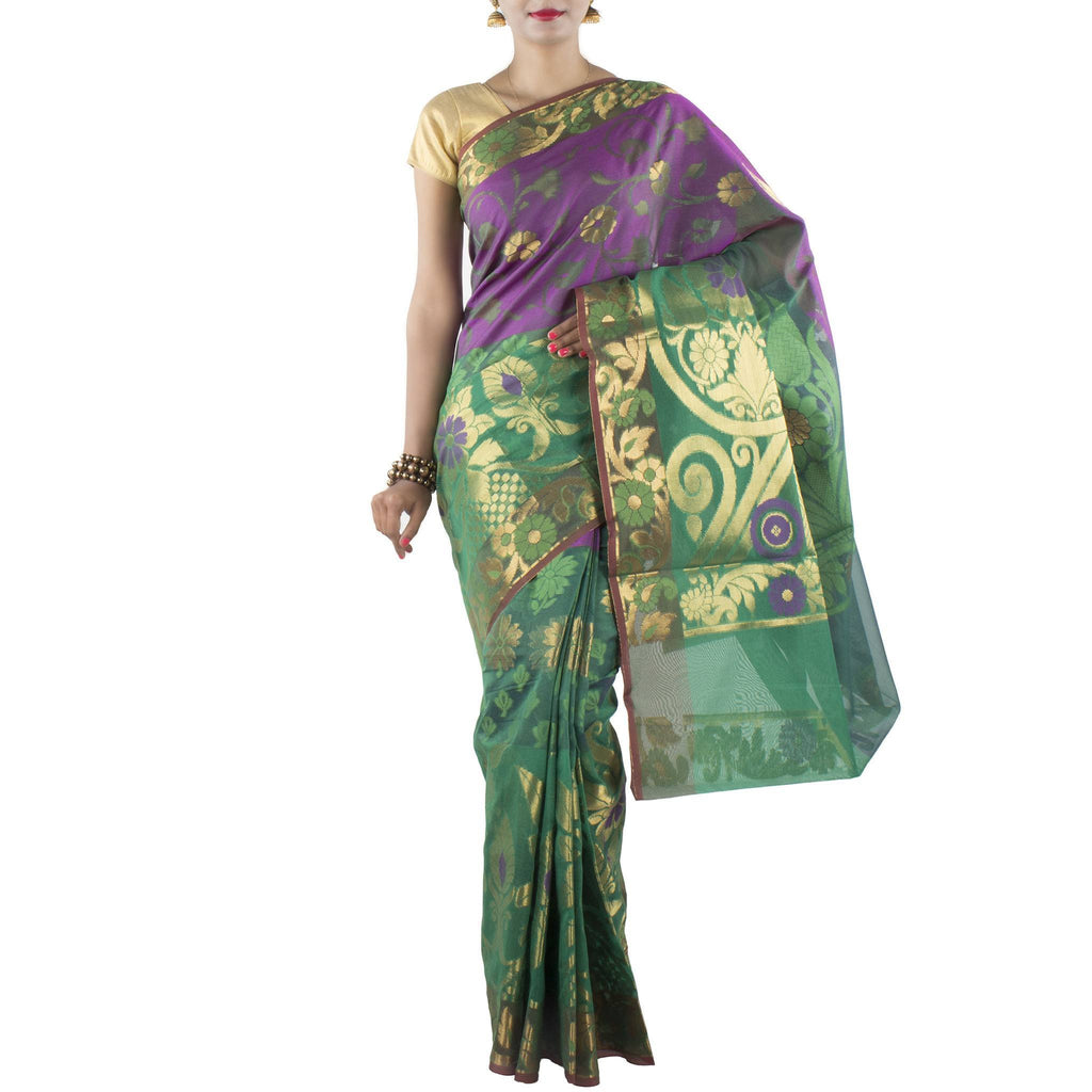 Green Kora Art Silk Saree with Floral motifs and Zari work
