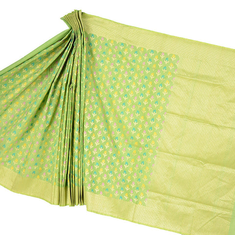 Green Silk Cotton saree with Floral Kaduwa booti
