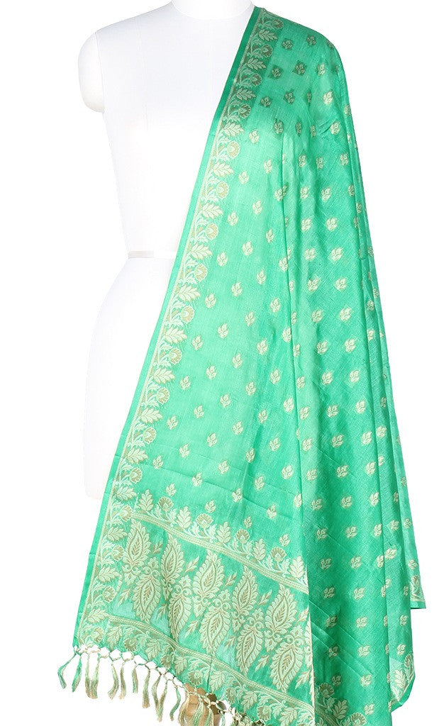 Green Tussar Silk Banarasi dupatta with leaf motifs PC01TS03 (1) Main