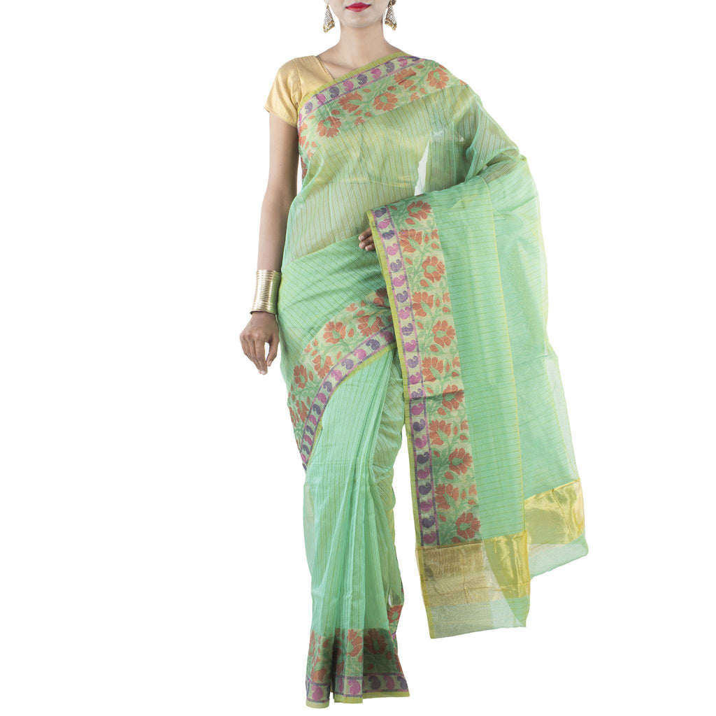 Green color Art Silk Saree with Floral Jaal and Zari work