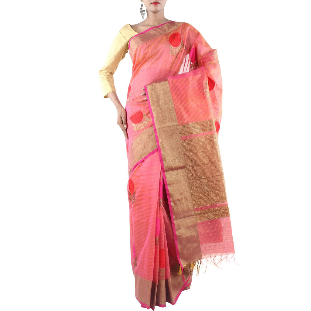 Handmade Coral Silk Cotton Saree with Floral motifs and Zari work