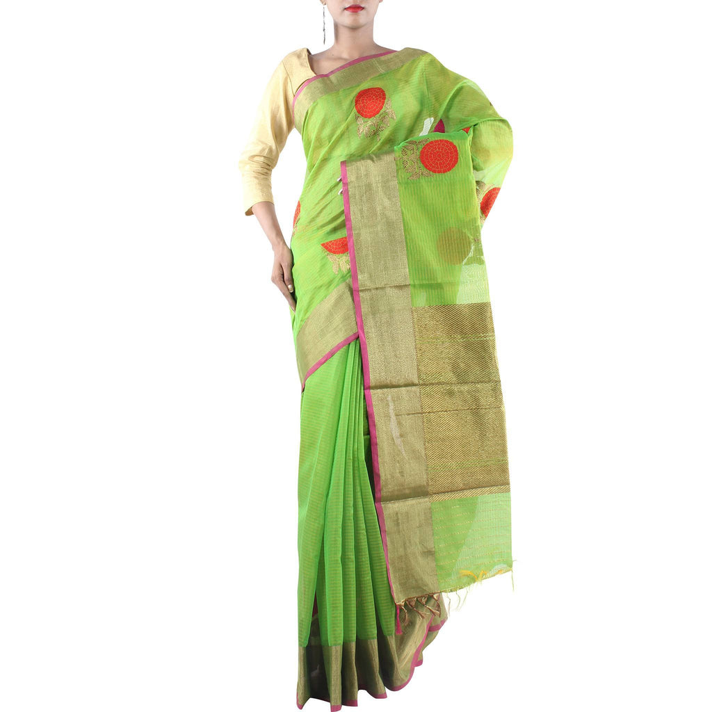 Handmade Green Silk Cotton Saree with Floral motifs and Zari work