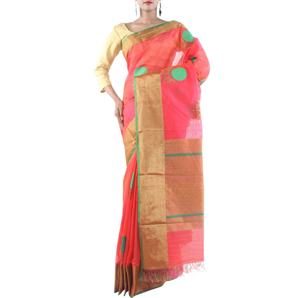 Handmade Red Silk Cotton Saree with Floral motifs and Zari work
