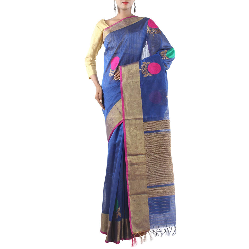 Handmade Royal Blue Silk Cotton Saree with Floral motifs and Zari work