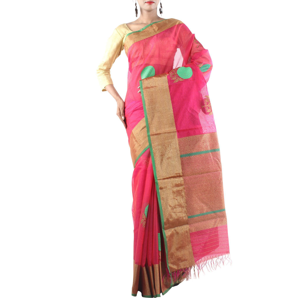 Handmade Strawberry Red Silk Cotton Saree with Floral motifs and Zari work