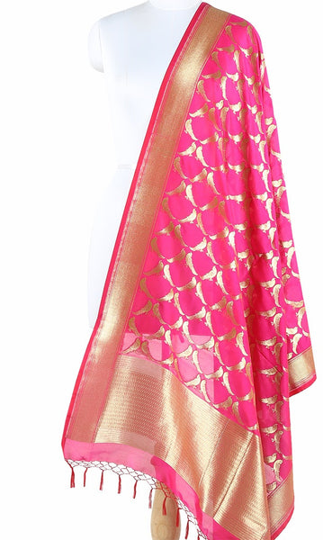 Hot pink Art Silk Banarasi Dupatta with bird motifs and pink edge ZISSRVDAS674 (1) Main