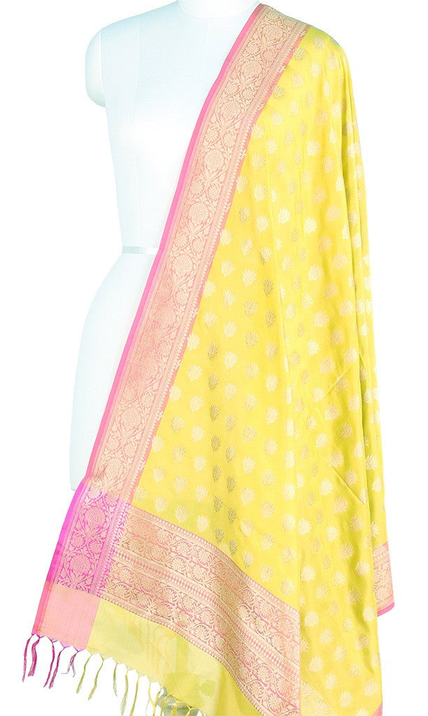 Lemon Yellow Banarasi Silk Dupatta lotus flower motifs and zari PCPBD03S12 (1) Main