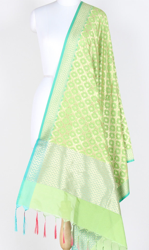 Light Green Art Silk Banarasi Dupatta with paisley jaal and zari work SSJB01N84 (1) Main