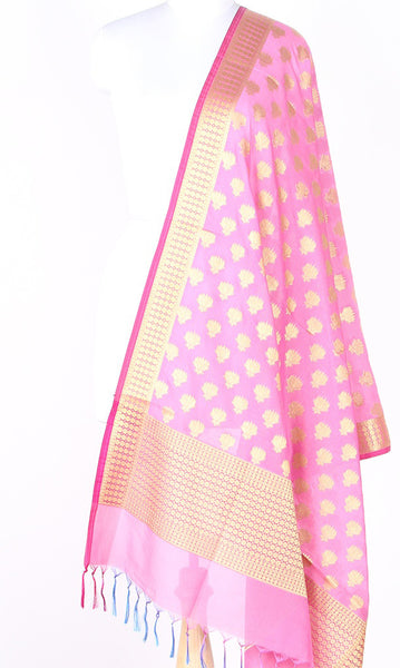 Light Pink Art Silk Banarasi dupatta with Artistic Lotus booti SSRVD01N120 (1) Main