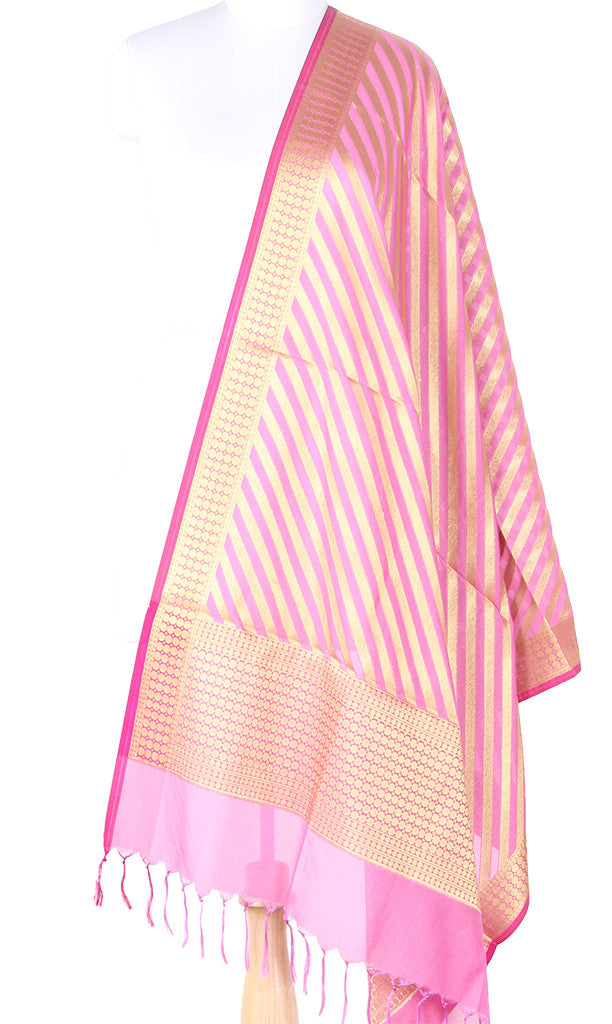 Light Pink Art Silk Banarasi dupatta with diagonal stripe of gold zari SSRVD01N101 (1) Main