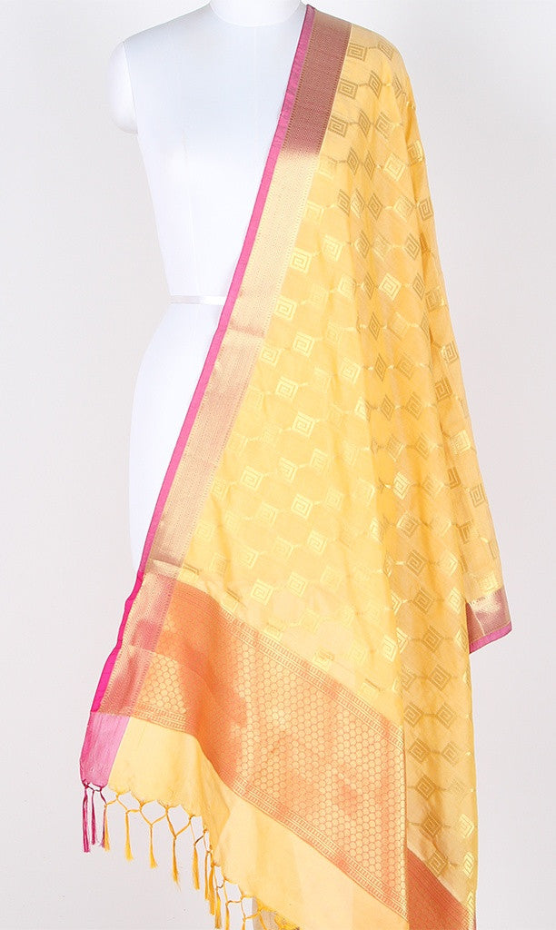 Light yellow Art Silk Banarasi dupatta with greek key pattern jaal SSRVD01N103 (1) Main
