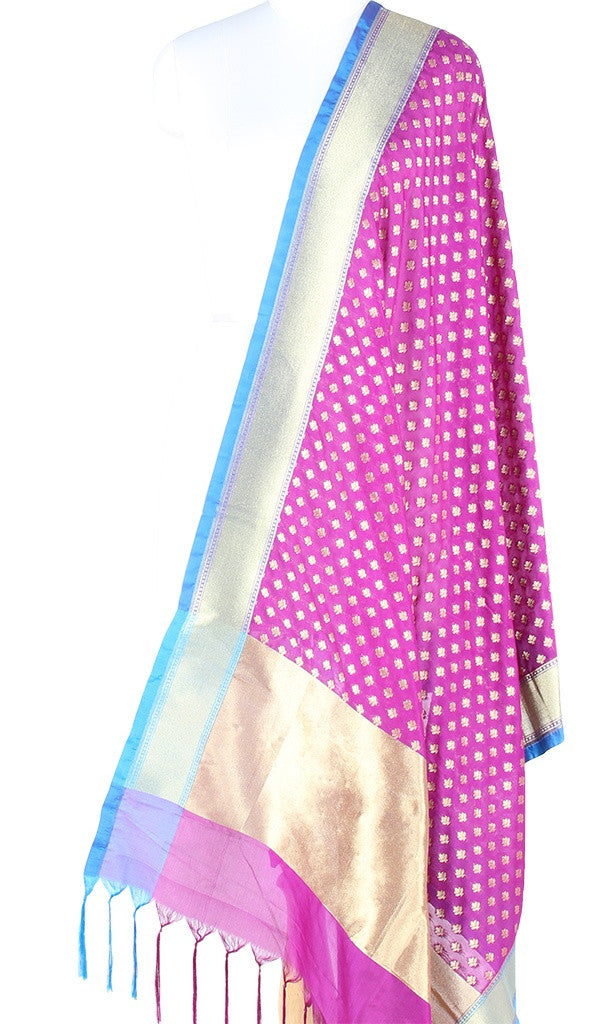 Lilac Art Silk Banarasi Dupatta with mini flower motifs and zari work PCJB01N19 (1) Main