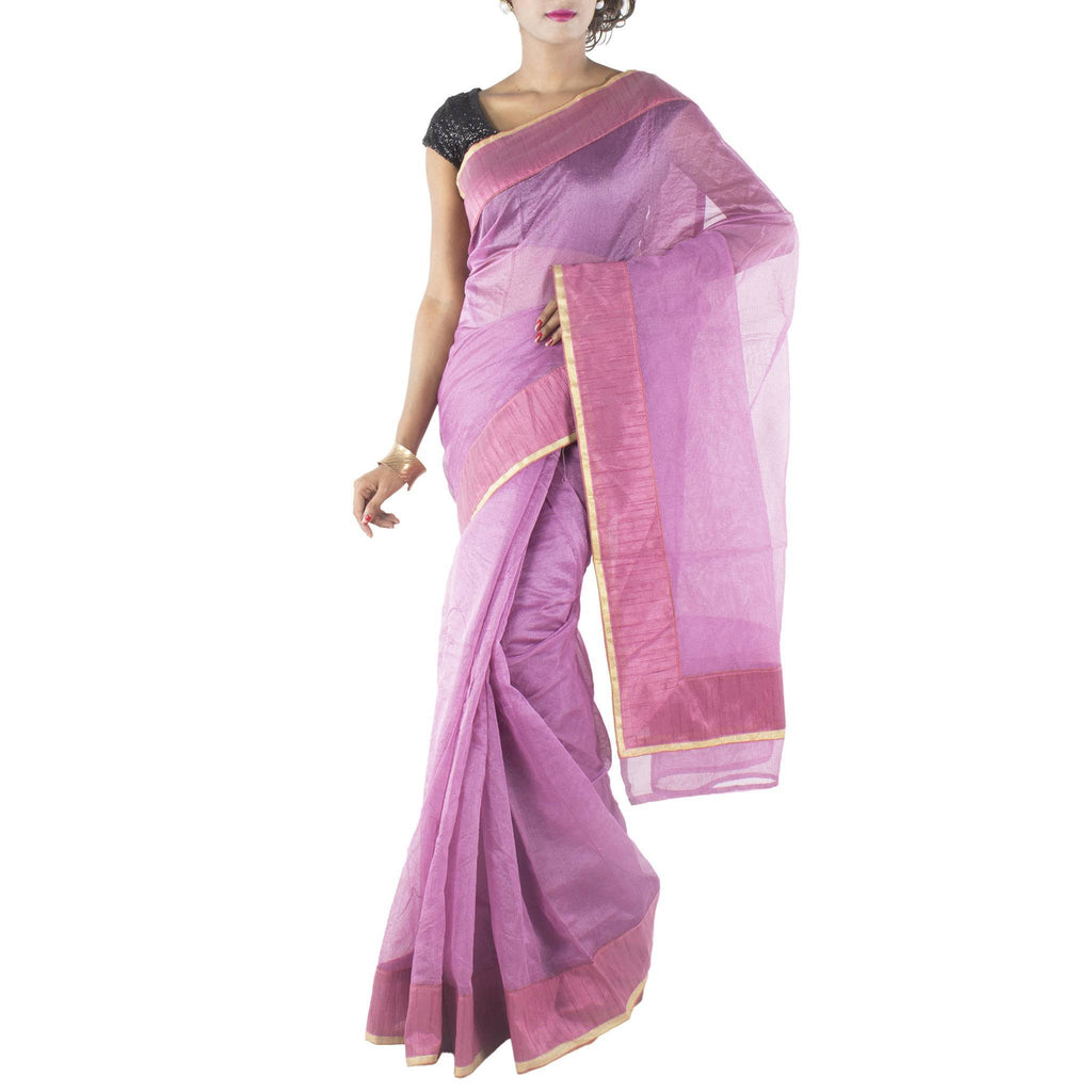 Lilac Art Silk Cotton Saree with Patched border