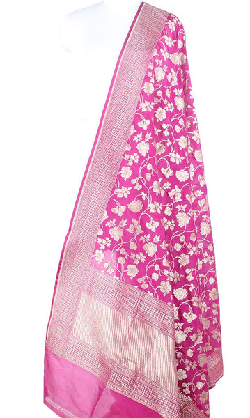 Lilac Katan Silk Handwoven Banarasi dupatta with flower jaal PCARS05KS13 (1) Main