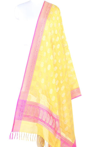 Lime Yellow Banarasi Silk Dupatta with flower motifs PCPBD03S40 (1) Main