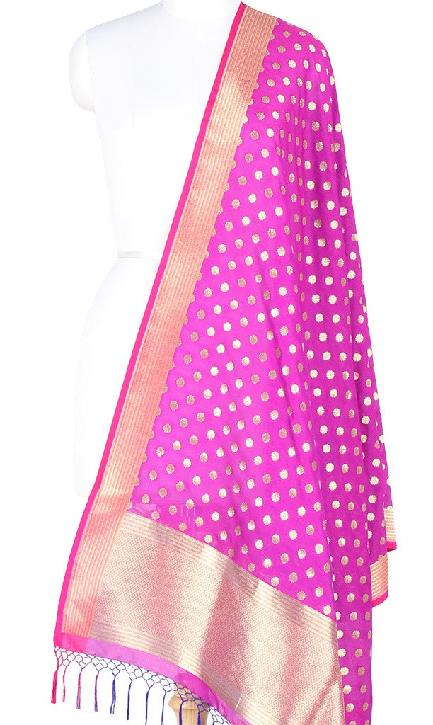 Magenta Art Silk Banarasi Dupatta with small floral booti PCRVDAS114 (1) Main