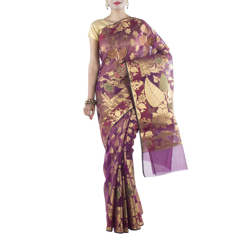 Magenta Art Silk Saree with Floral and Leaf motifs and Zari work