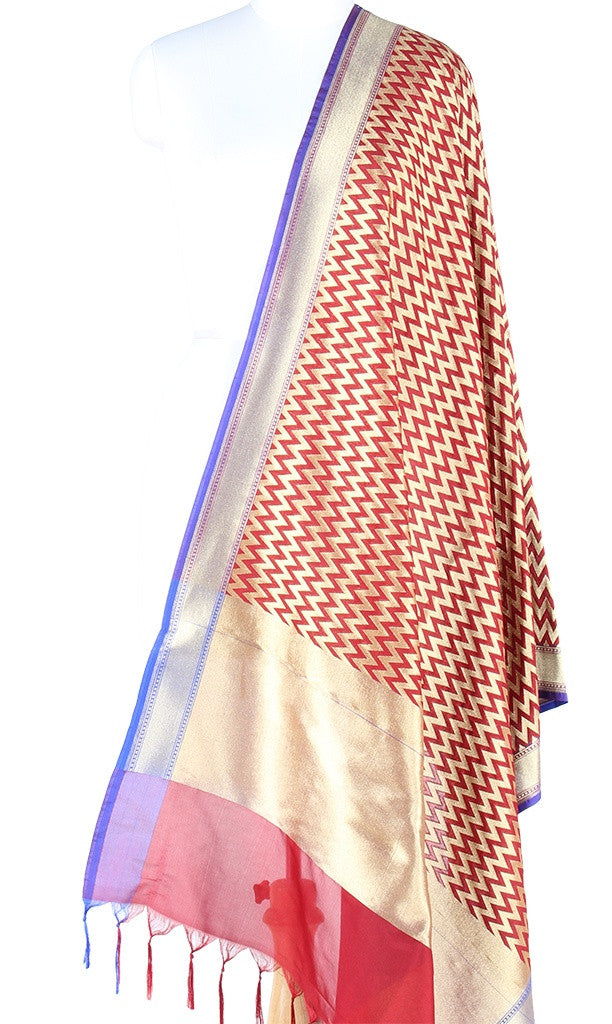 Maroon Art Silk Banarasi Dupatta with chevron pattern jaal PCJB01N26 (1) Main