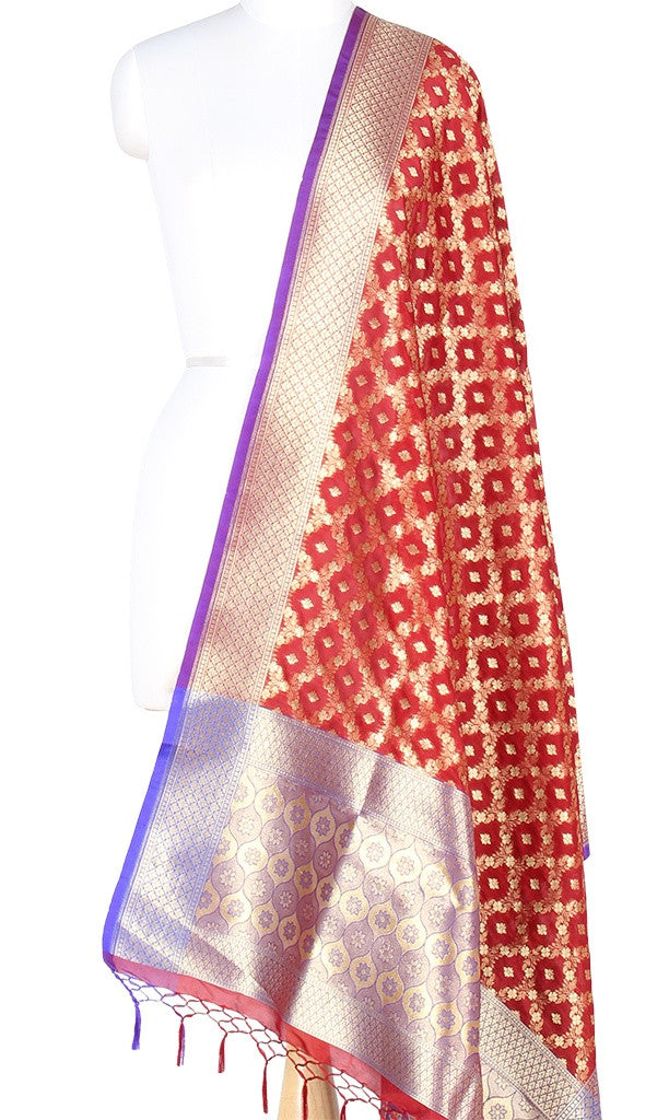 Maroon Art Silk Banarasi Dupatta with floral jaal and ogee anchal PCRVD04JJ04 (1) Main