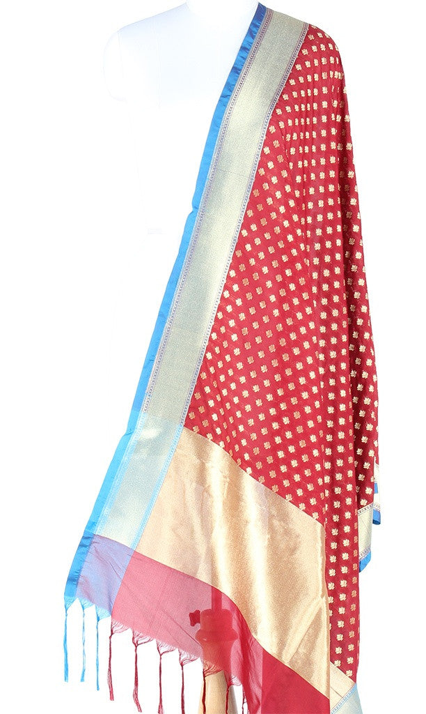 Maroon Art Silk Banarasi Dupatta with mini flower motifs and zari work PCJB01N21 (1) Main