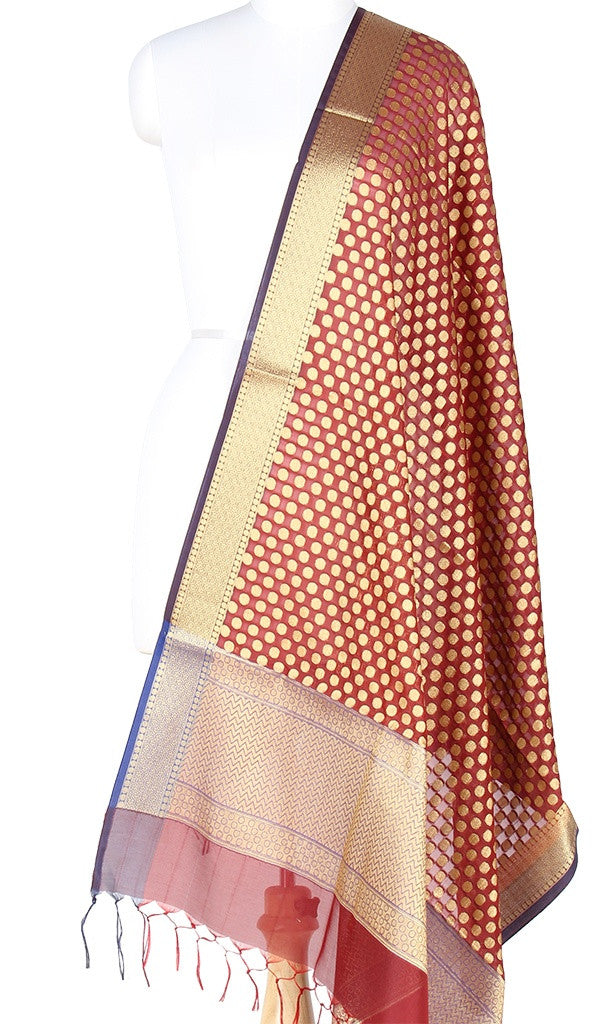 Maroon Art Silk Banarasi Dupatta with polka dots and zari work PCRVD01N79 (1) Main