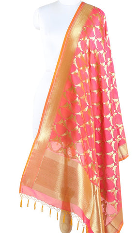 Mild pink Art Silk Banarasi Dupatta with bird motifs and orange edge ZISSRVDAS678 (1) Main