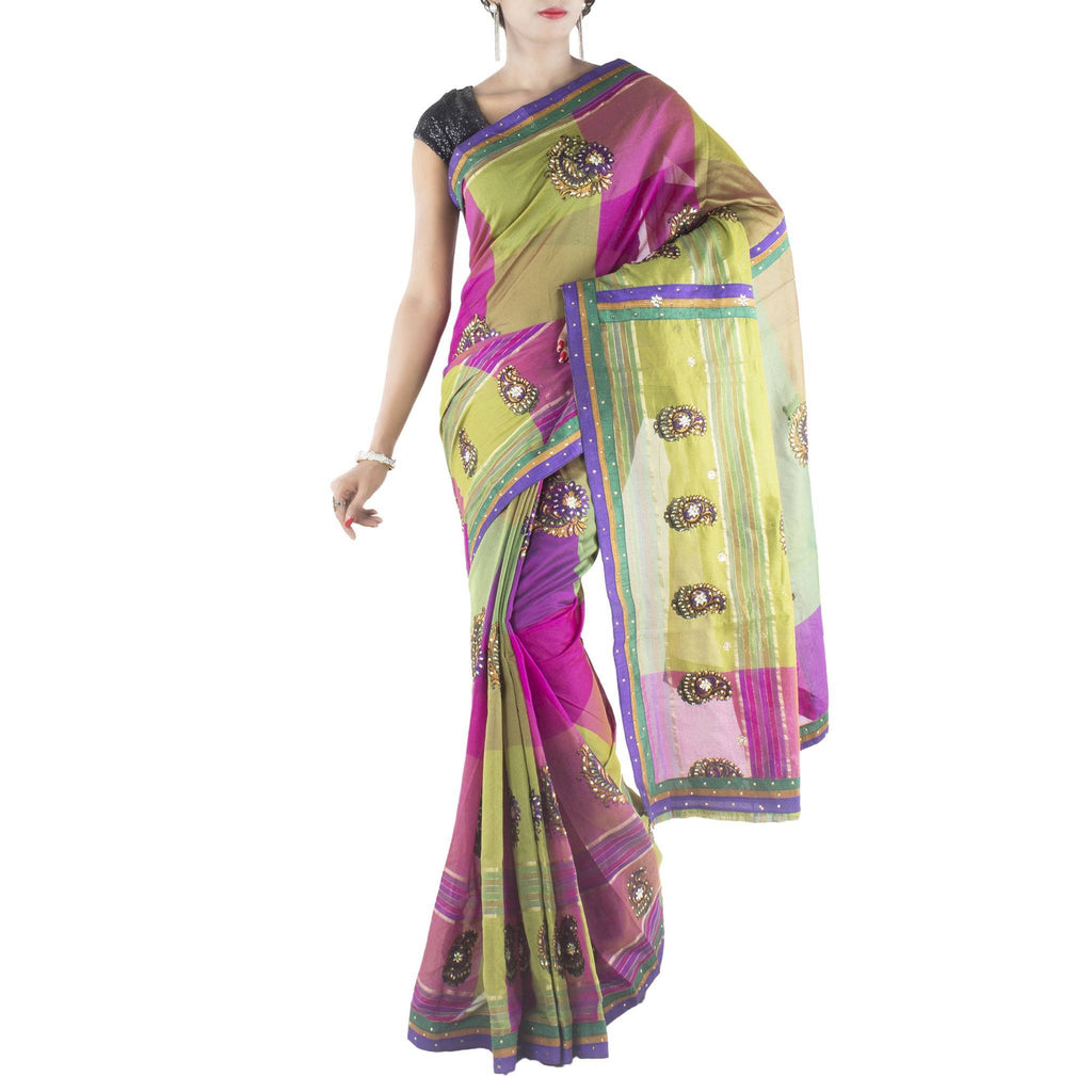 Multi color Art Silk Saree with embroidered Paisley bootas