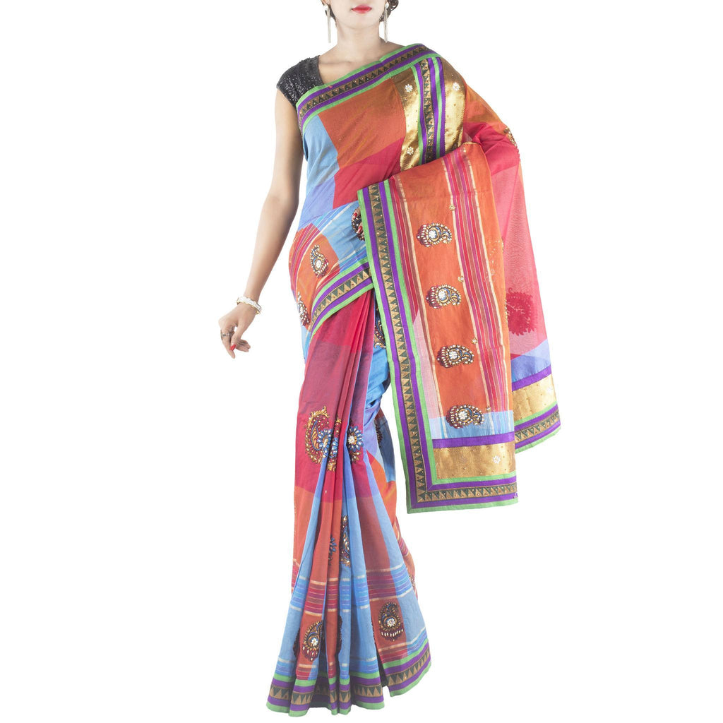 Multi color Art Silk Saree with embroidered Paisley motifs