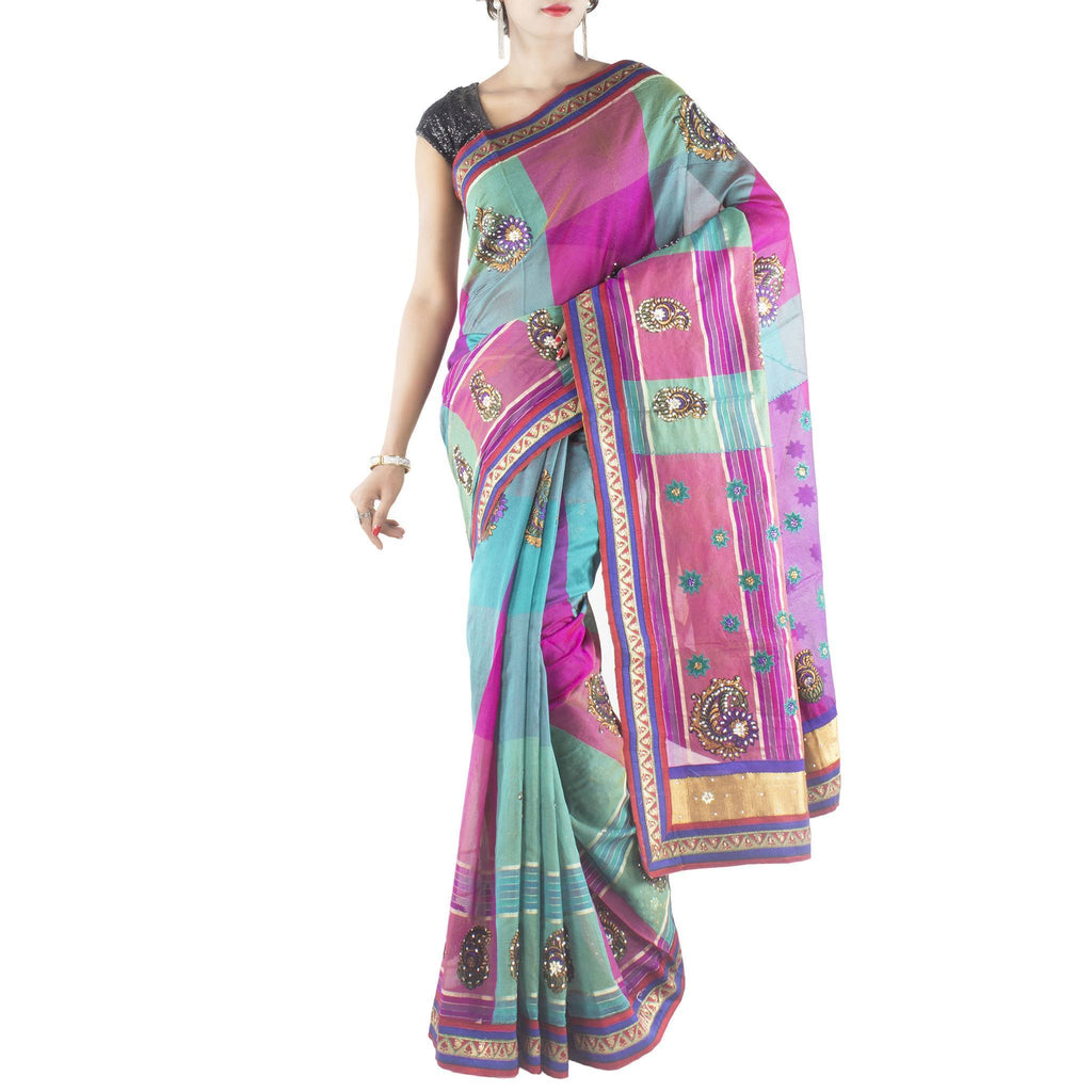 Multi color Art Silk Saree with embroidered stylized motifs